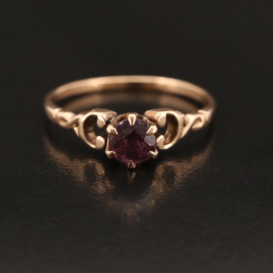 Vintage 14K Garnet Glass Doublet Solitaire Ring