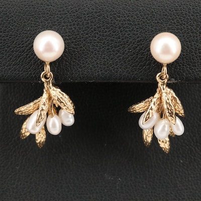 14K Pearl Foliate Earrings