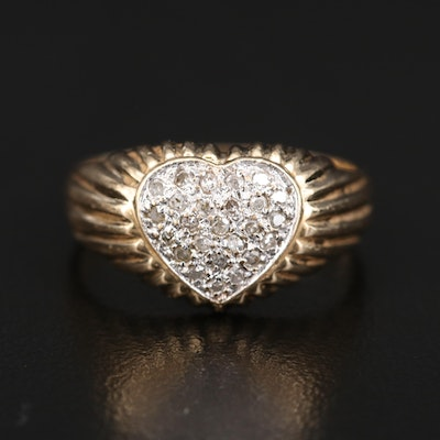 14K Diamond Heart Cluster Ring with Fluted Shoulders