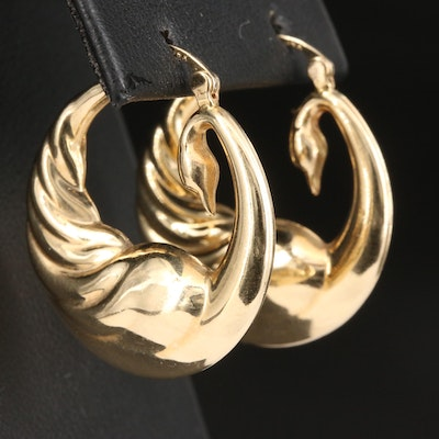 14K Swan Hoop Earrings