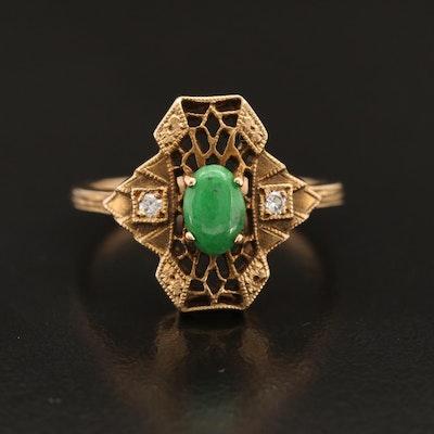 1930s Art Deco 14K Jadeite and Diamond Ring