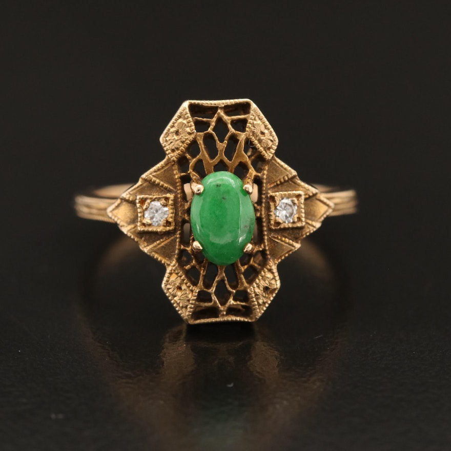 1930s Art Deco 14K Jadeite and Diamond Ring