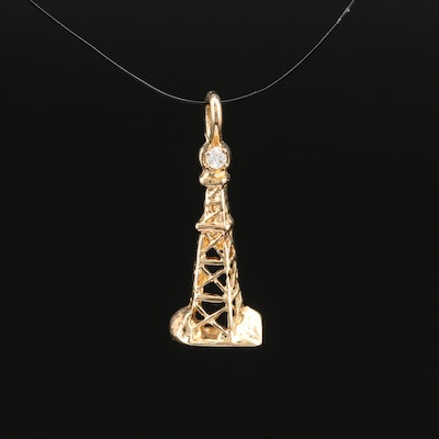 14K Diamond Oil Derrick Pendant
