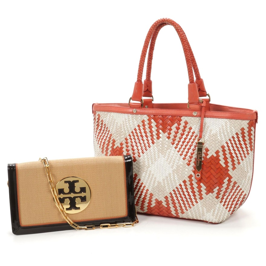 Tory Burch Woven Foldover Clutch Purse with Cole Haan Woven Leather Tote