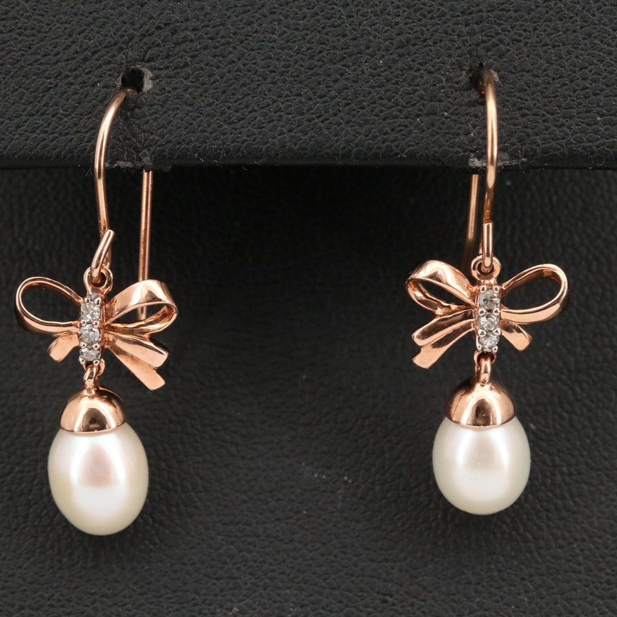 10K Diamond and Pearl Bow Earrings