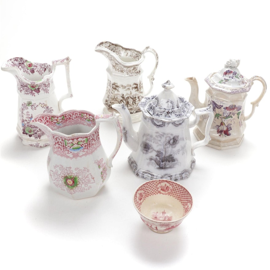 John Wedgwood and Other Ironstone Transferware Pitchers and Teapots, 1840–1890s