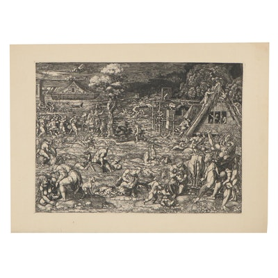 "Engraving after Dirk Vellert ""The Flood,"" Early to Mid-20th Century"