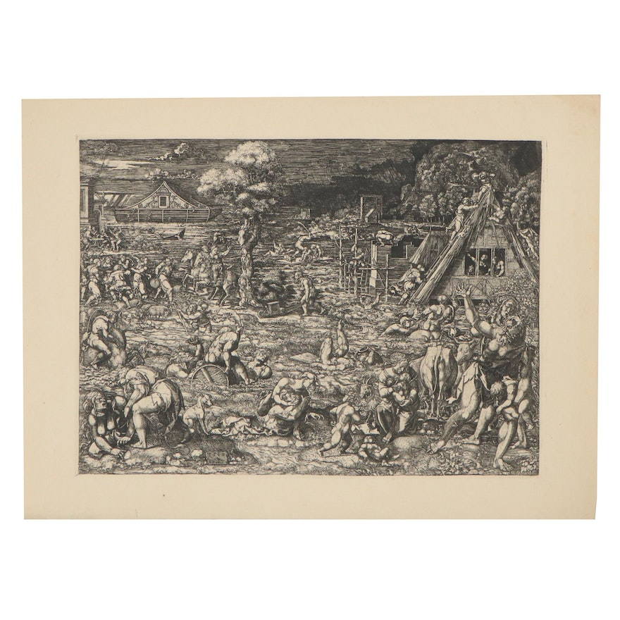 """Engraving after Dirk Vellert """"The Flood,"""" Early to Mid-20th Century"""
