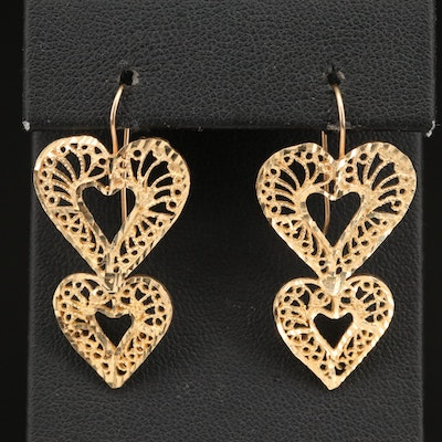 14K Filigree Heart Earrings