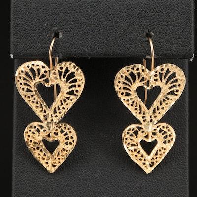 14K Filigree Heart Earrings