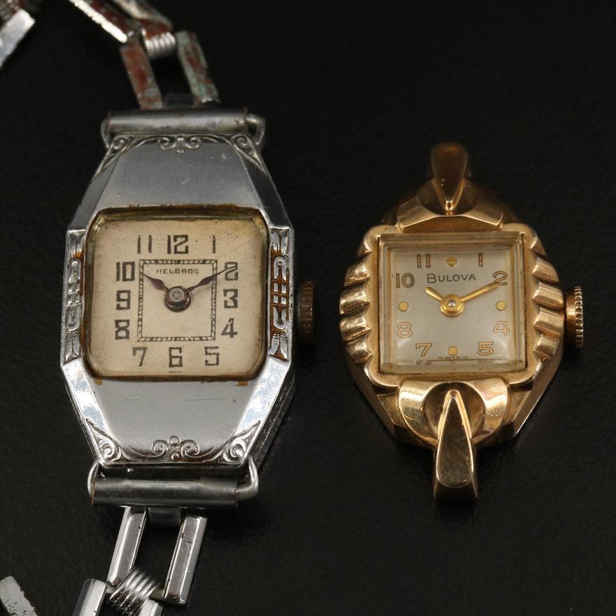 Vintage Bulova and Helbros Stem Wind Wristwatches