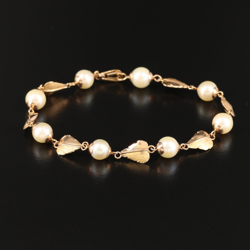 Vintage 18K Pearl and Leaf Link Station Bracelet