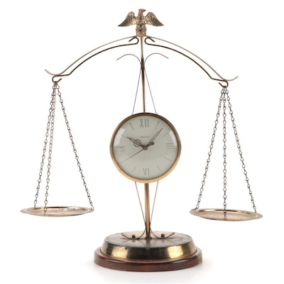 United Metal Goods Scales of Justice Electric Clock, Mid-20th Century
