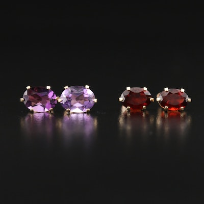 10K Garnet and Amethyst Stud Earrings