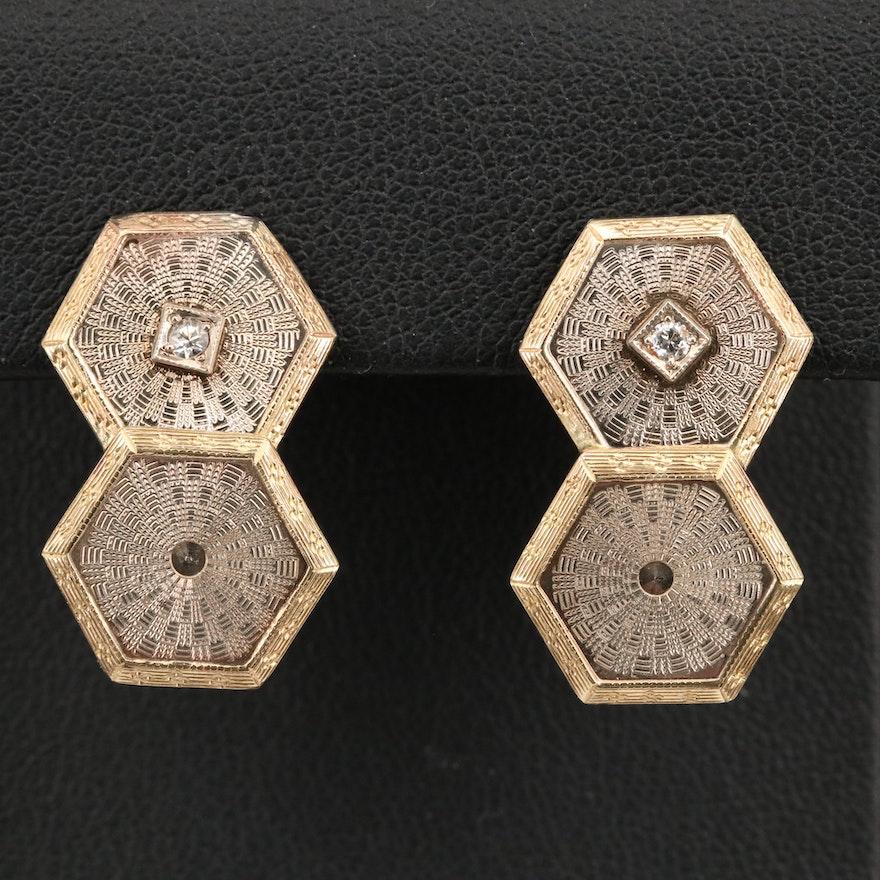 Vintage 10K Diamond Earrings