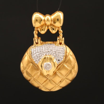 18K Diamond Purse Slide Pendant