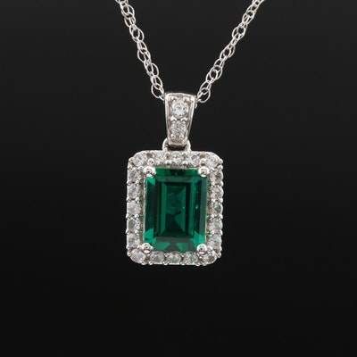 14K Emerald and Diamond Necklace