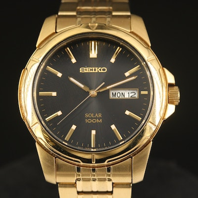 "Seiko ""Solar 100M"" Wristwatch with Day/Date Window"