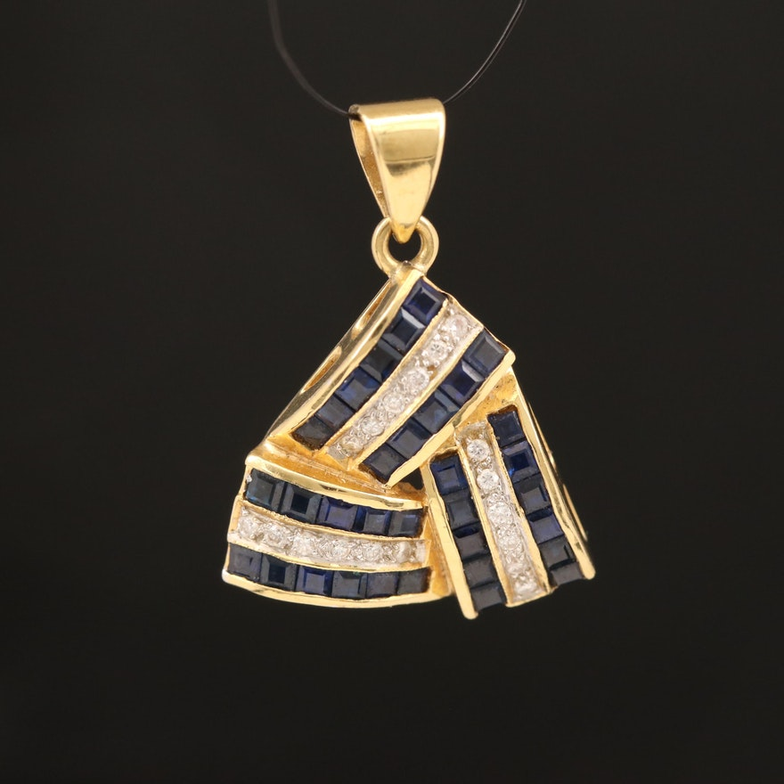 18K Sapphire and Diamond Pendant