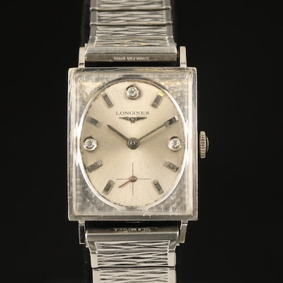 1963 Longines Diamond Imperial 14K White Gold Stem Wind Wristwatch
