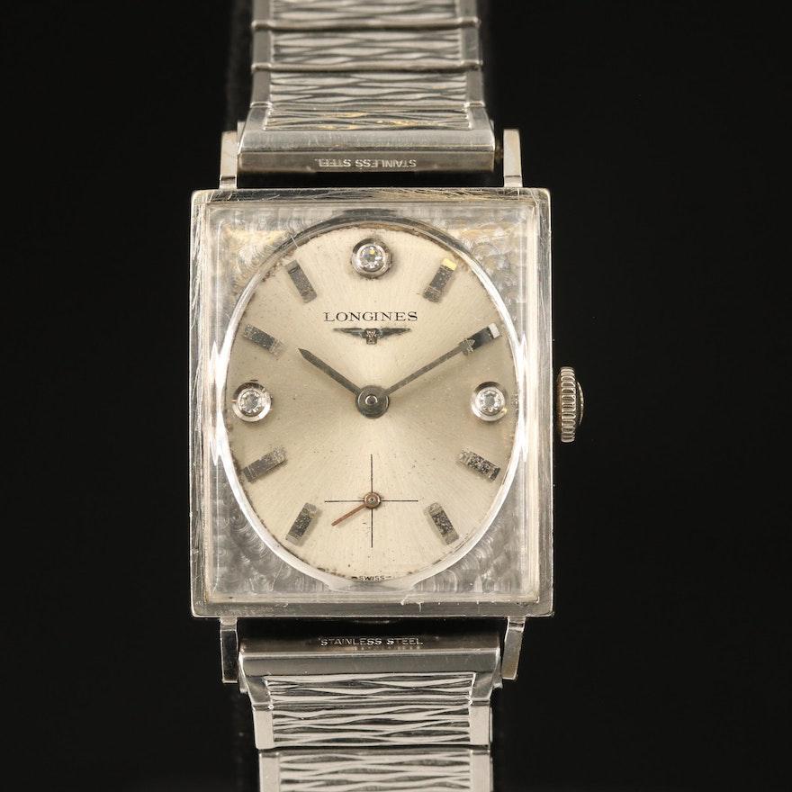 1963 Longines Diamond Imperial 14K White Gold Stem Wind Wristwatch