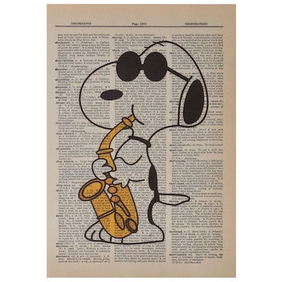 Giclée of Snoopy with Saxophone, 21st Century