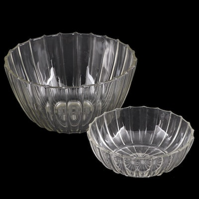 Fluted Pressed Glass Serving Bowls