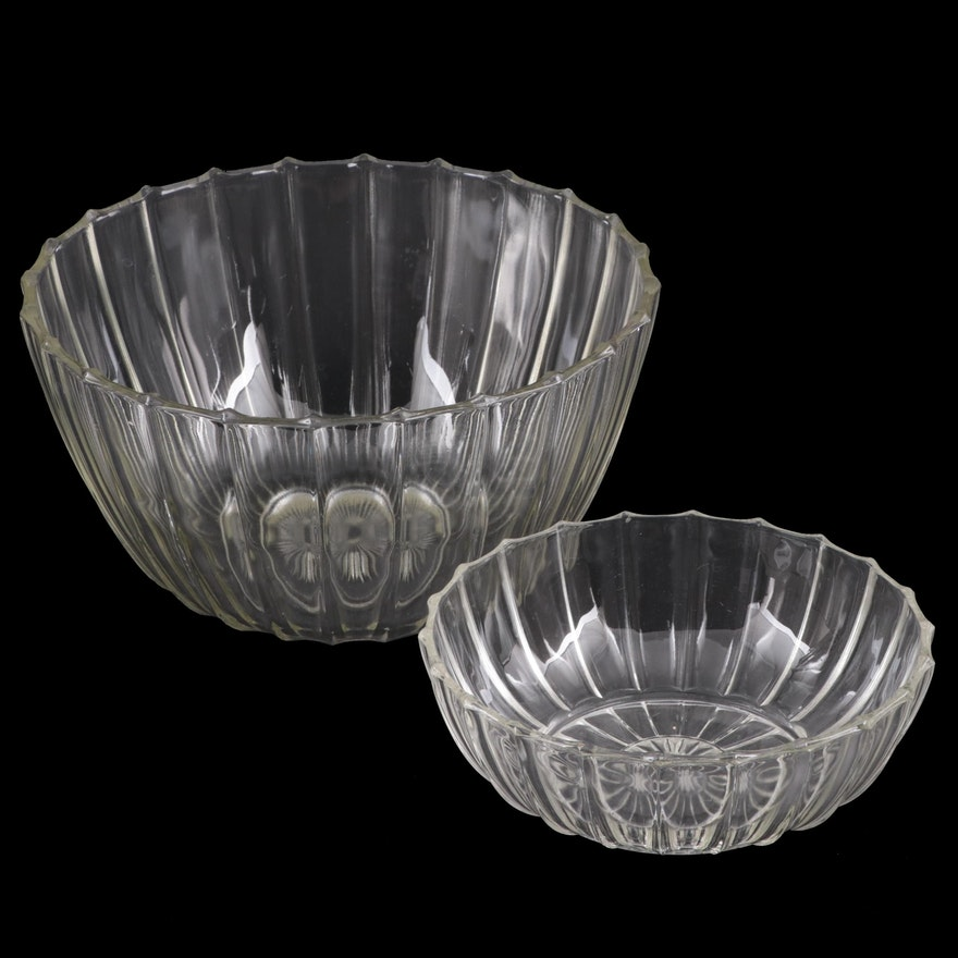 Fluted Pressed Glass Serving Bowls