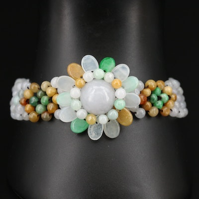 Jadeite Flower Beaded Bracelet