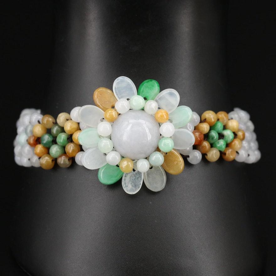 Jadeite Flower Beaded Bracelet