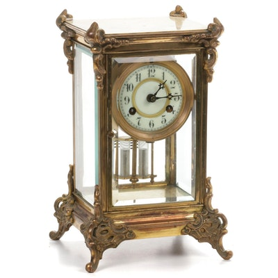 "Waterbury Clock Company ""Savoy"" Crystal Regulator Shelf Clock"