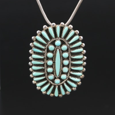 Signed Sterling Turquoise Petit Point and Needle Point Converter Brooch Necklace