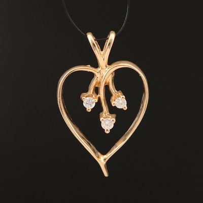 14K Diamond Open Heart Pendant