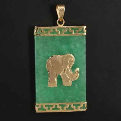 14K Jadeite Elephant Pendant