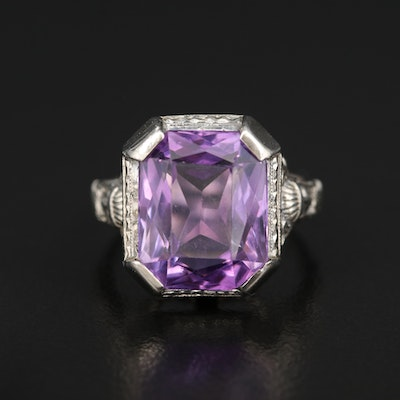 Art Deco Egyptian Revival 18K Amethyst Ring with Figural Shoulders