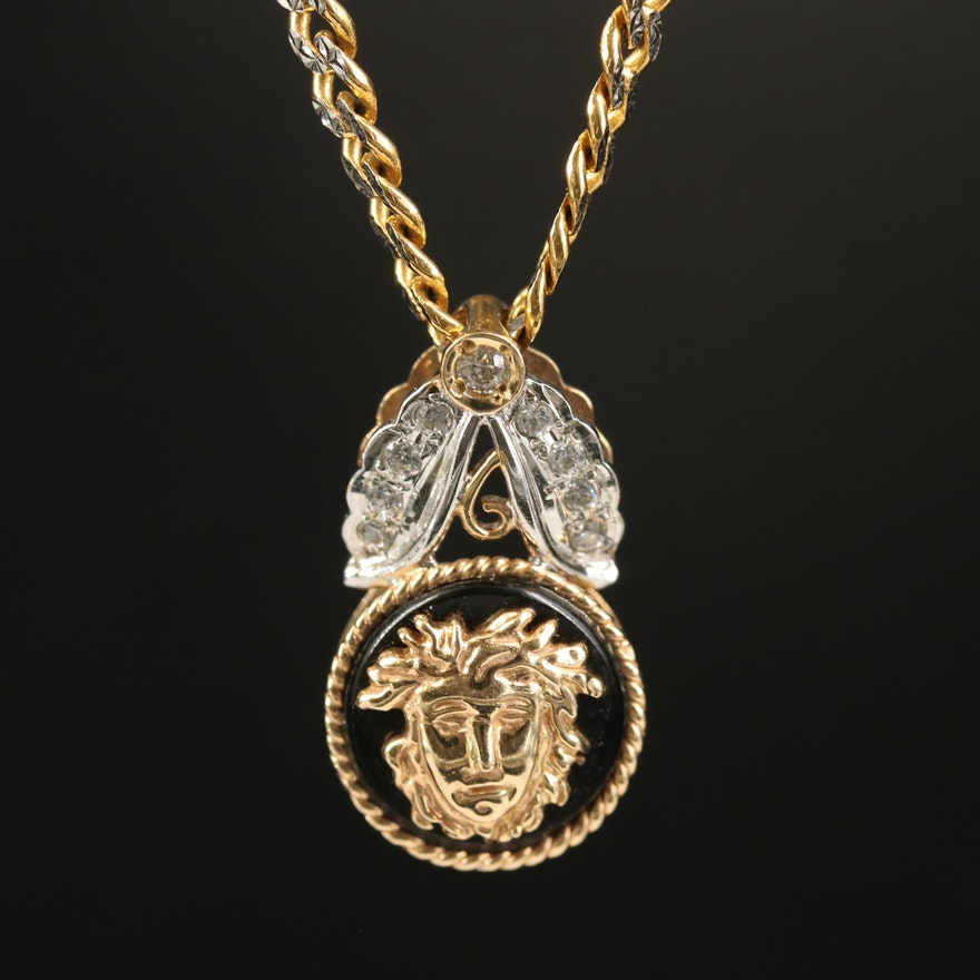 14K Two-Tone Black Onyx and Cubic Zirconia Medusa Necklace