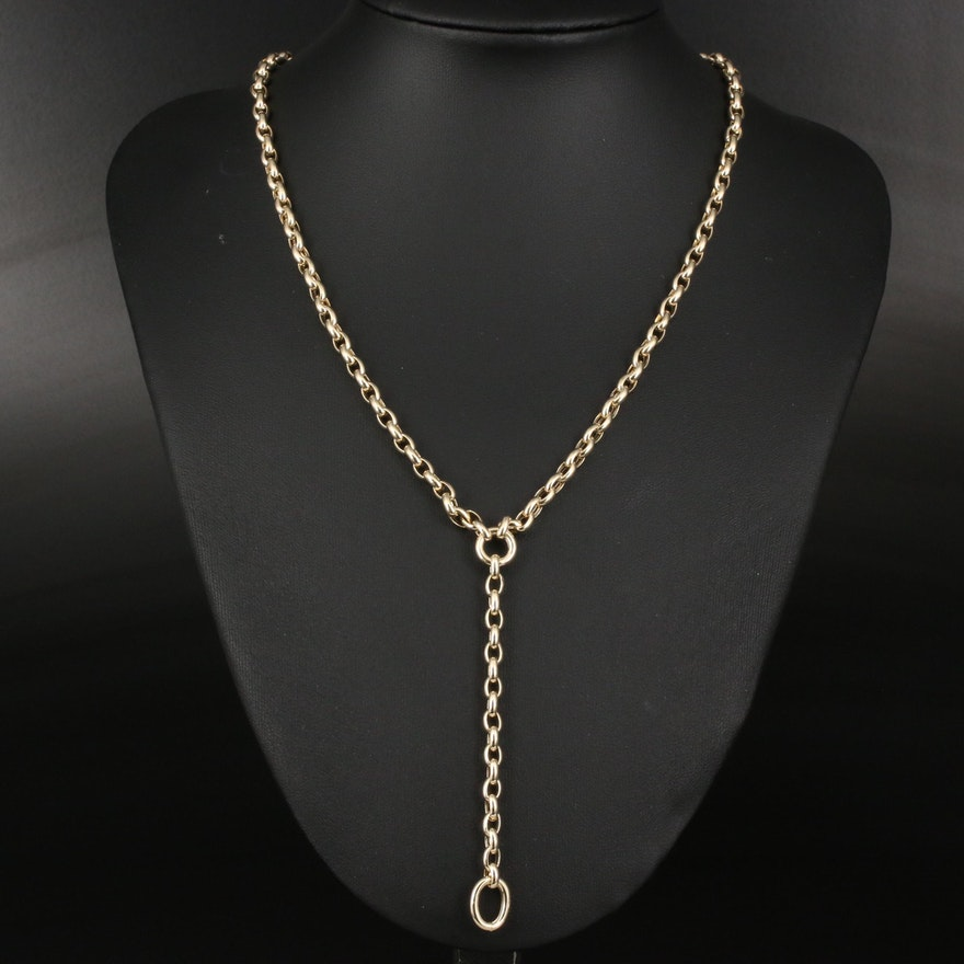 14K Cable Chain Y Necklace