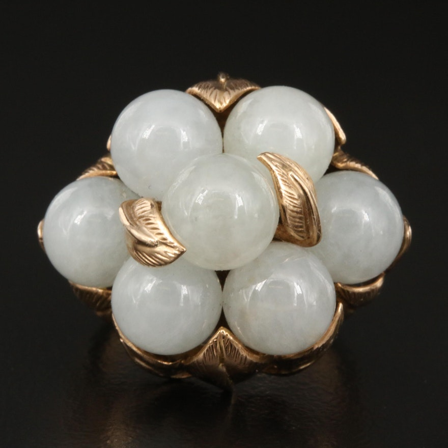 1950s 14K Jadeite Grape Cluster Ring