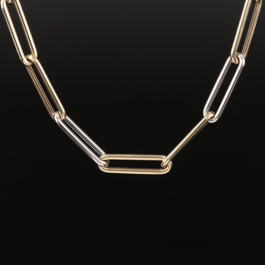 Italian 14K Yellow and White Gold Paper Clip Link Chain