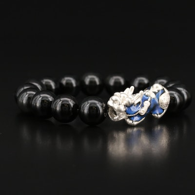 Fine Silver Obsidian Bead Bracelet Featuring Thermochromic Guardian Lion