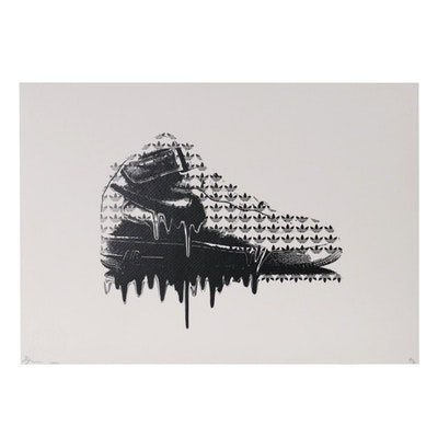 Death NYC Pop Art Style Offset Lithograph of Nike Air Jordan Shoe