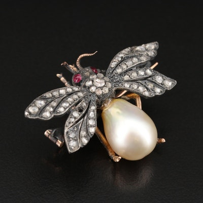 Sterling and 14K Pearl and Diamond Insect Brooch
