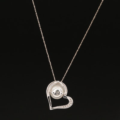 14K Pearl and Diamond Open Heart Pendant Necklace