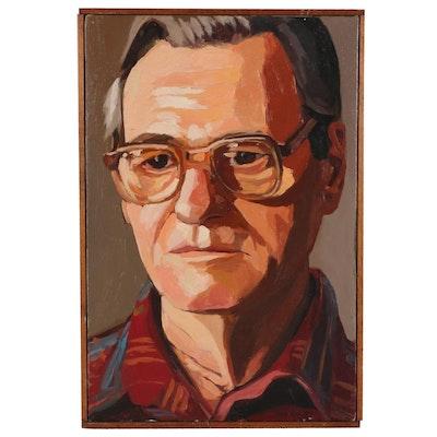 """Stephen Hankin Portrait Oil Painting """"Earl,"""" 1983"""