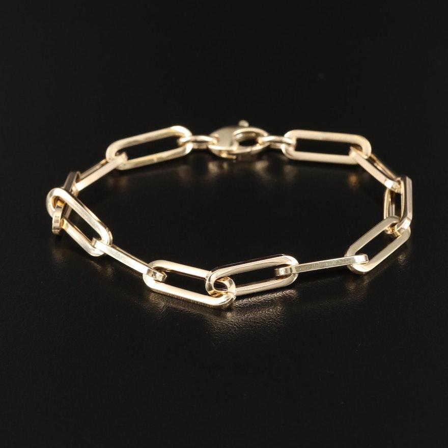 Italian 14K Oval Cable Chain Bracelet