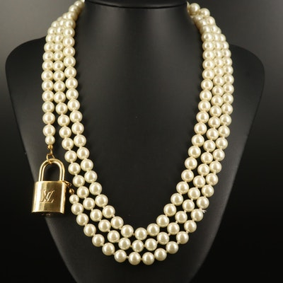 Louis Vuitton Lock on Rope Length Faux Pearl Necklace