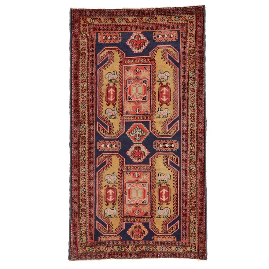 3'8 x 6'7 Hand-Knotted Caucasian Kazak Wool Area Rug