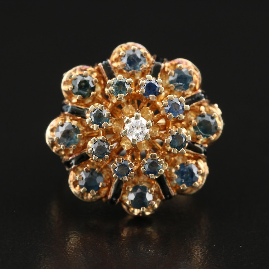 Vintage Style 14K Diamond and Sapphire Tiered Cluster Ring