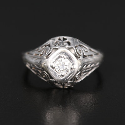 Art Deco 14K 0.17 CT Diamond Openwork Ring