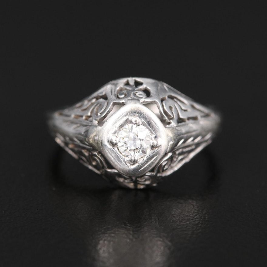 Art Deco 14K 0.17 CT Diamond Openwork Ring